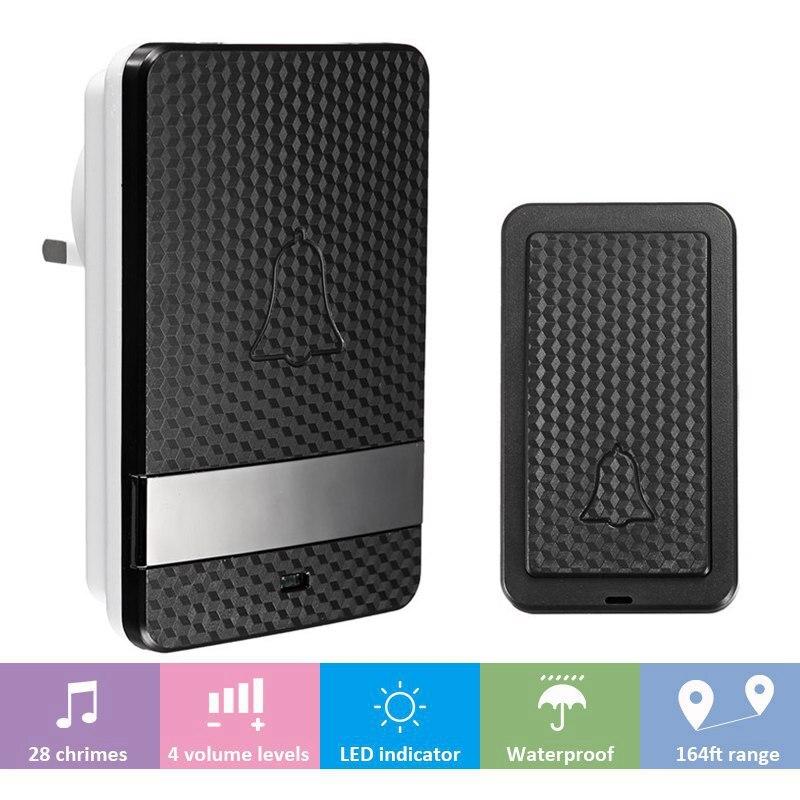 Self Powered Waterproof Wireless DoorBell Night Light No Battery EU/US/AU/UK Plug Home Cordless Door Bell 1 Button 1 Receiver