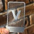 2020 nuevo diseño, precio de fábrica, tarjeta de acero inoxidable de alta calidad, Impresión de tarjetas de visita perforadas con agujero de metal