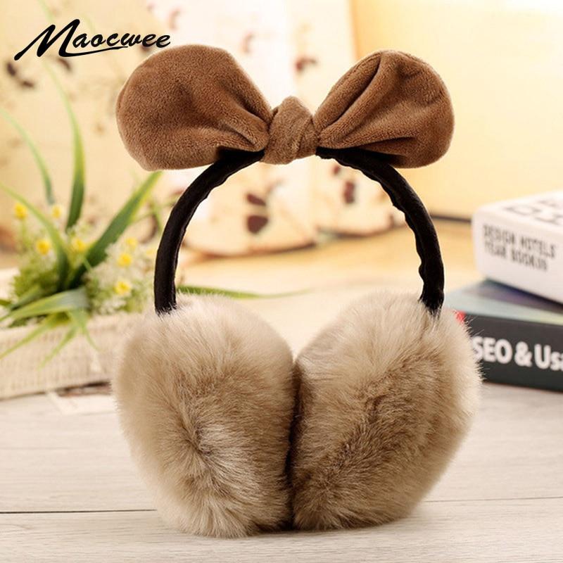2017 Girls Lovely Rabbit Fur Winter Earmuffs Ear Cache Oreilles Warmers Winter Comfort Earmuffs Warm Winter Earmuffs For Women
