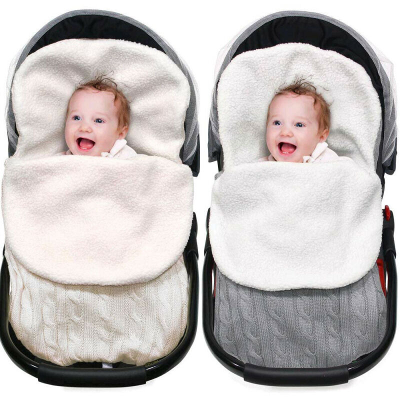 Baby Sleeping Bag Envelope Winter Kids Footmuff For Stroller Knitted Sleep Sack Children Newborn Knit Wool Slaapzak