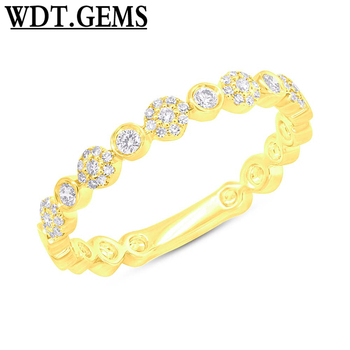 10K Rose Gold Bezel Cluster Diamond Thin Delicate Statement Stackable Ring Band