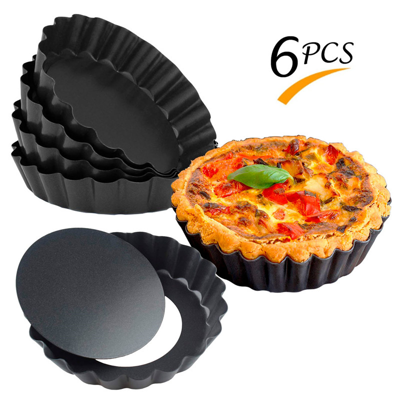 6 pcs/set Non-Stick Pie Pizza <font><b>Pan</b></font> Molds Cake <font><b>Round</b></font> Mould Removable Bottom 4 Inch Mini Tart <font><b>Pans</b></font> Bakeware image