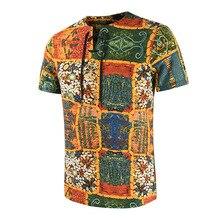 Cotton Linen Stripe Short Sleeve Loose Henley Man Shirt Summ