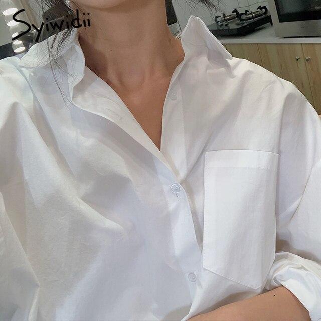 Syiwidii قمصان طويلة الأكمام  من القطن الأبيض الأزرق 4
