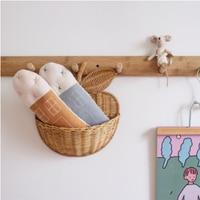 Handmade Rattan Storage Storage Apple Shape Basket Funny Cute Baby Room Decor Wicker Organizer Baby Stickers Toys