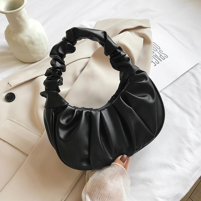 Fashion-Pleated-Handle-Bags-For-Women-Solid-Color-Cloud-Bags-PU-Leather-Shoulder-Bags-Armpit-Bag (2)