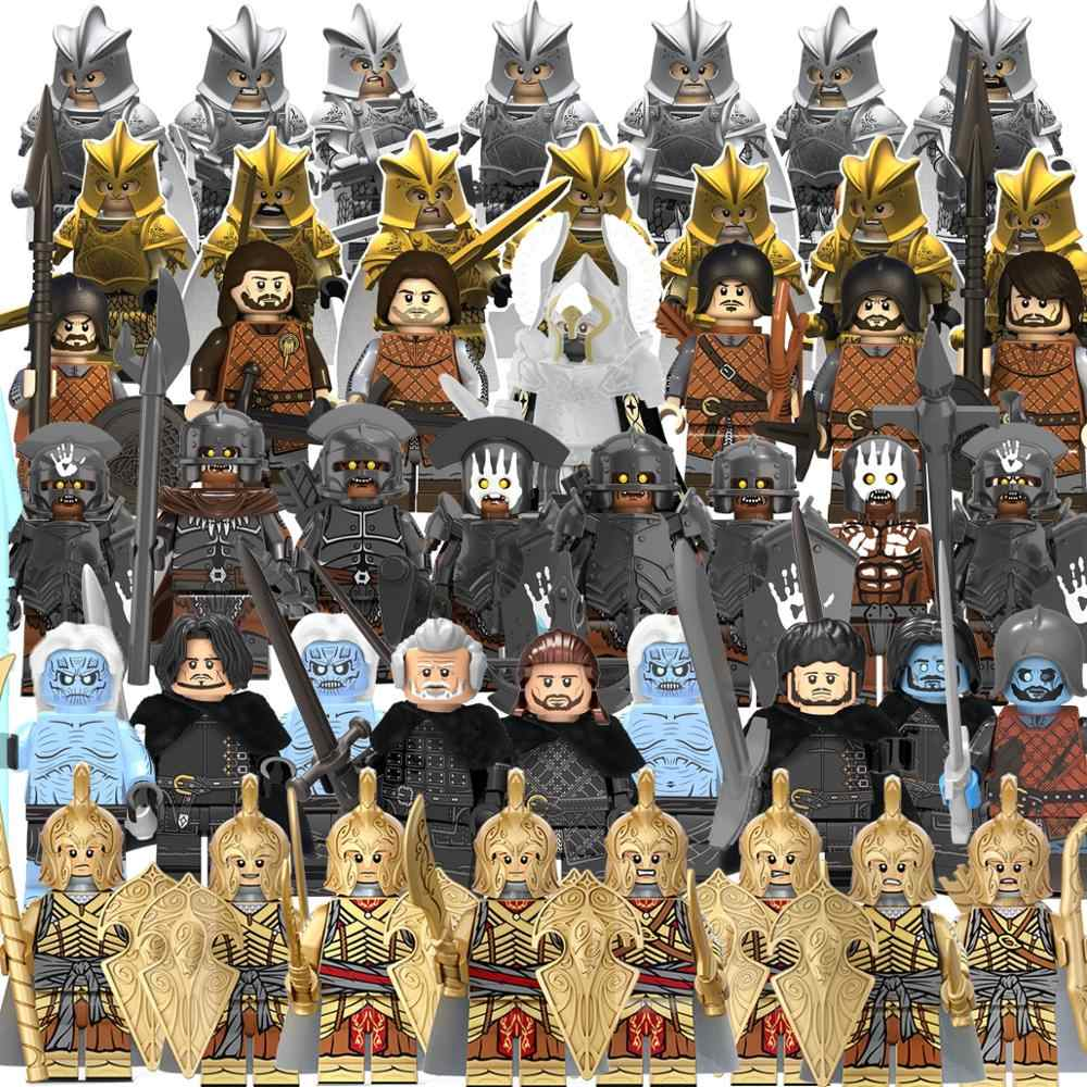 Single sell  legoing  the lord of the rings in blocks  Action  FigureStrong uruk  hai Infantry Spear Building Blocks Toy