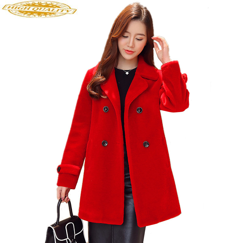 Women's Fur Coat Real Wool Jackets Sheep Shearling Coats 2020 New Autumn Winter Jacket Women Long Trench Female S909