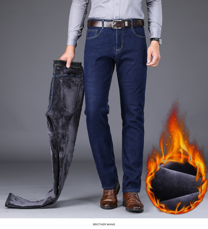 2020 Winter New Men's Warm Slim Fit Jeans Business Fashion Thicken Denim Trousers Fleece Stretch Brand Pants Black Blue