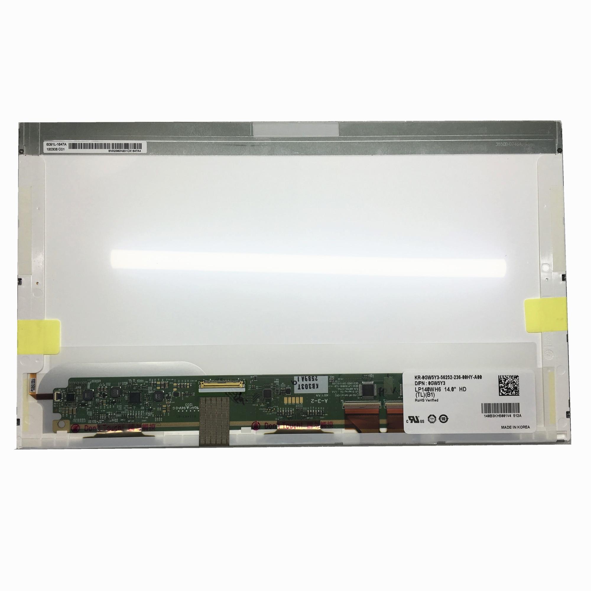Livraison gratuite LP140WH6-TLB1 LTN140AT22 N140BGE-L22 B140XW01 V.0 V.8 V.9 BT140GW01 V.4 écran lcd d'ordinateur portable 40pins
