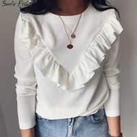Lady Office Work Ruffles O-Neck Khaki Shirts Women Blouses Autumn Winter Blusas 2019 Tops White Black Long Sleeve Elegant GV948