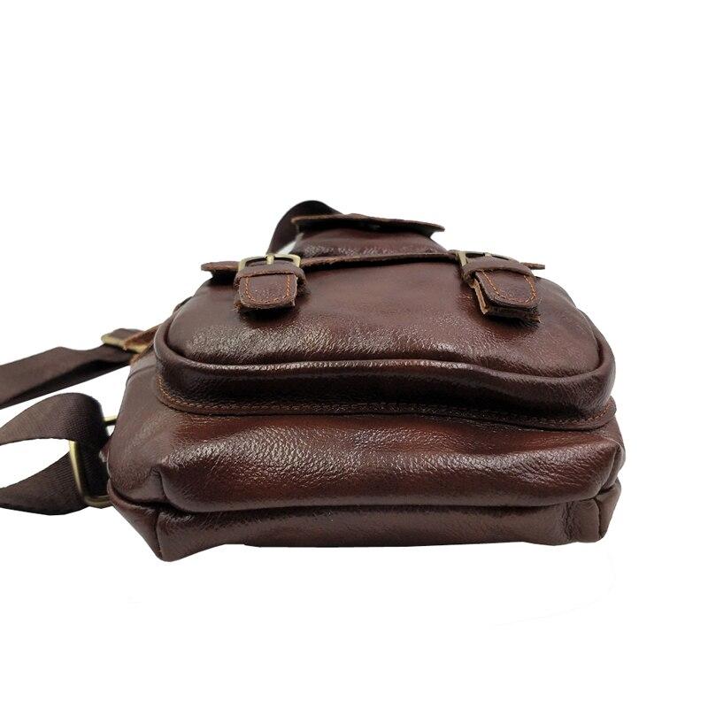 Men's Leather Retro Sling Chest Bag Belt Buckle Back Pack Cross Body Shoulder Messenger Unbalance Sports Pouch Travel