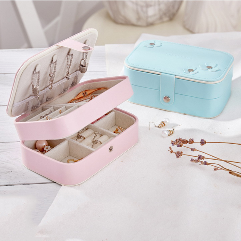 Portable Women Jewelry Box Storage Organizer Girls Travel 2-Layer Rectangle Earrings Ring Necklace Carrying Case Gift Boxes