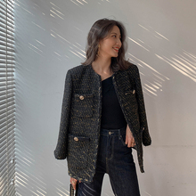 ヴィンテージ黒ツイードジャケット 2019 新秋冬おしゃれなウールエレガントな OL 女性のコート