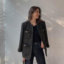 Chaqueta de Tweed negra Vintage, novedad de otoño invierno 2019, abrigo elegante de lana a la moda para mujer OL