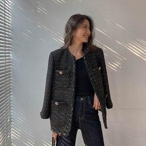 Image 1 - Vintage Black Tweed Jacket 2019 New Autumn Winter Fashionable Woolen Elegant OL Female Coat