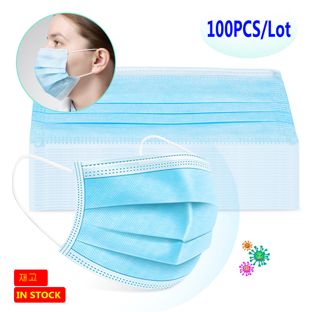 100PCS 3 Layers Disposable Anti-Dust Mouth Masks Non Woven Prevent Dust Anti Bacteria Formaldehyde Solid Color Face Mouth Masks