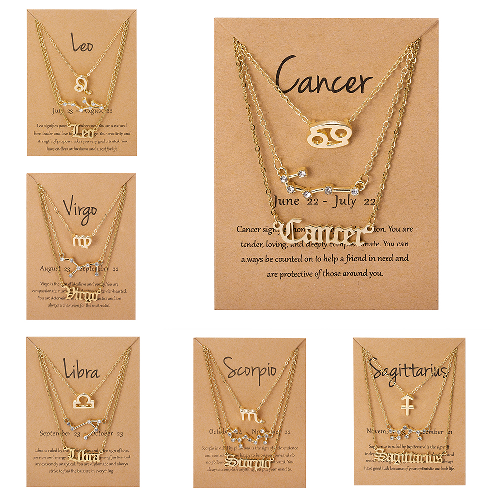 3Pcs/Set Cardboard Star Zodiac Sign Pendant 12 Constellation Charm Gold Necklace Aries Cancer Leo Scorpio Necklace Jewelry Gifts