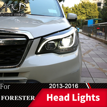 Head Lamp For Car SUBARU Forester 2013-2016 Angel Headlights Fog Lights Day Running Light DRL H7 LED Bi Xenon Bulb Car Accessory image