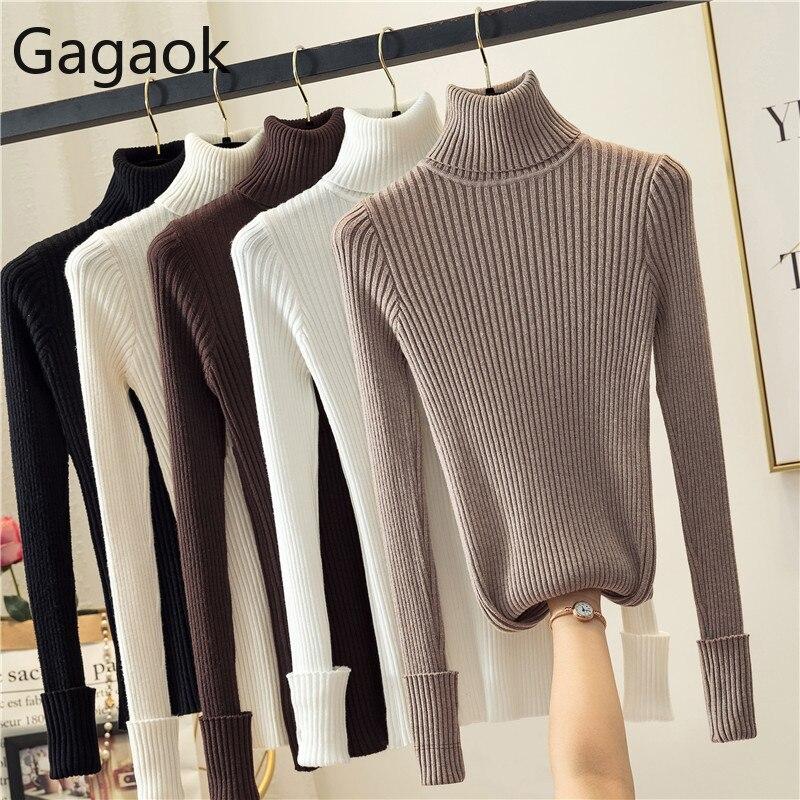 Gagaok женские вязаные ровные перчатки тонкий свитер весна осень новый однотонный водолазка полный Harajuku модный Теплый Женский пуловер