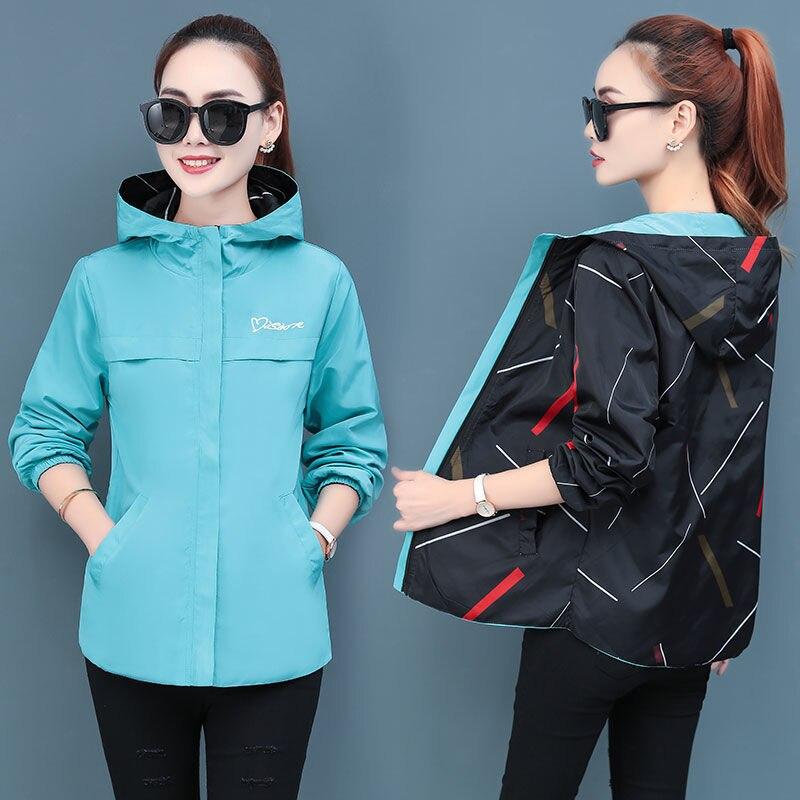 Women Jackets Spring Autumn Hooded Jacket Double Side Wear Coats And Jackets Women Print Plus Size Women Jacket Outwears Coats