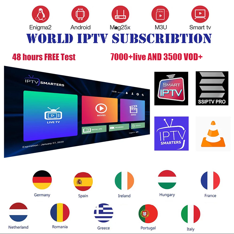 Subscribe 12 Months World IPTV Including Spain Italy Portugal France Germany Poland National Programs Support For Android M3U