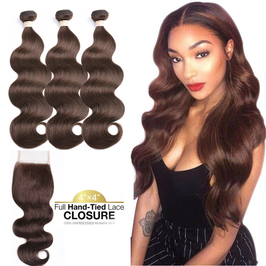 Brown Bundles With Closure Body Wave Human Hair With Closure Brazilian Human Hair Bundles With Closure Remy Hair Extensions