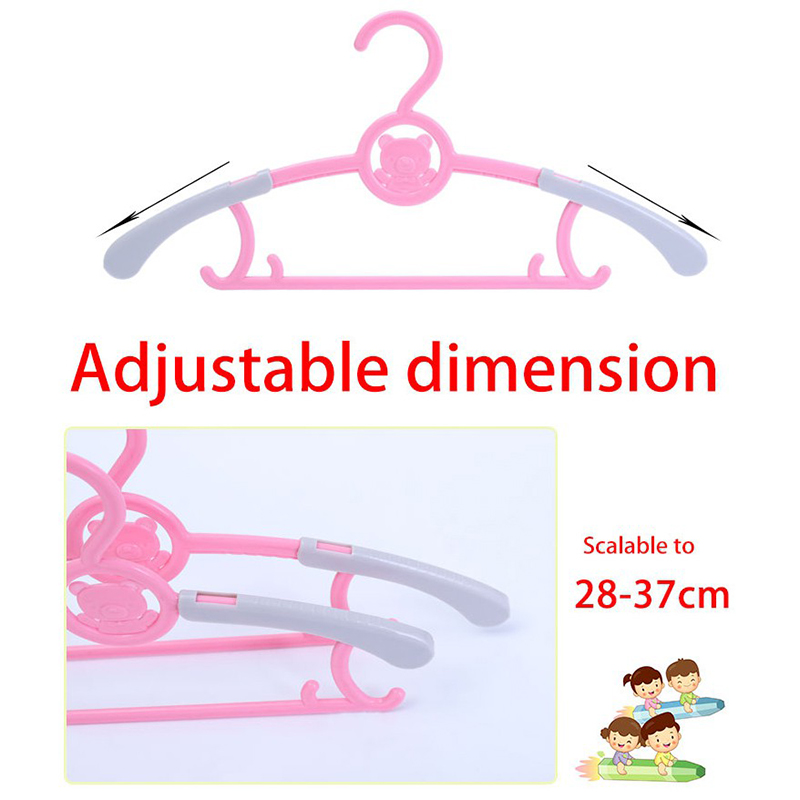 High Quality Cute Cartoon Children's Plastic Adjustable Hanger Clothes Hanger Hook Non-slip Kid Baby Drying Clothes Rack