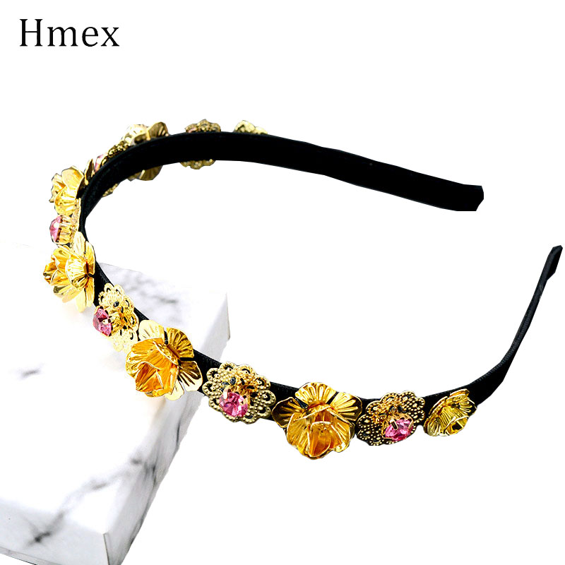 Fashion Crystal Rhinestones Women Headband Personality Metal Gold Flower Headwear Hair Jewelry Tiara Wedding Accessories in Hair Jewelry from Jewelry Accessories