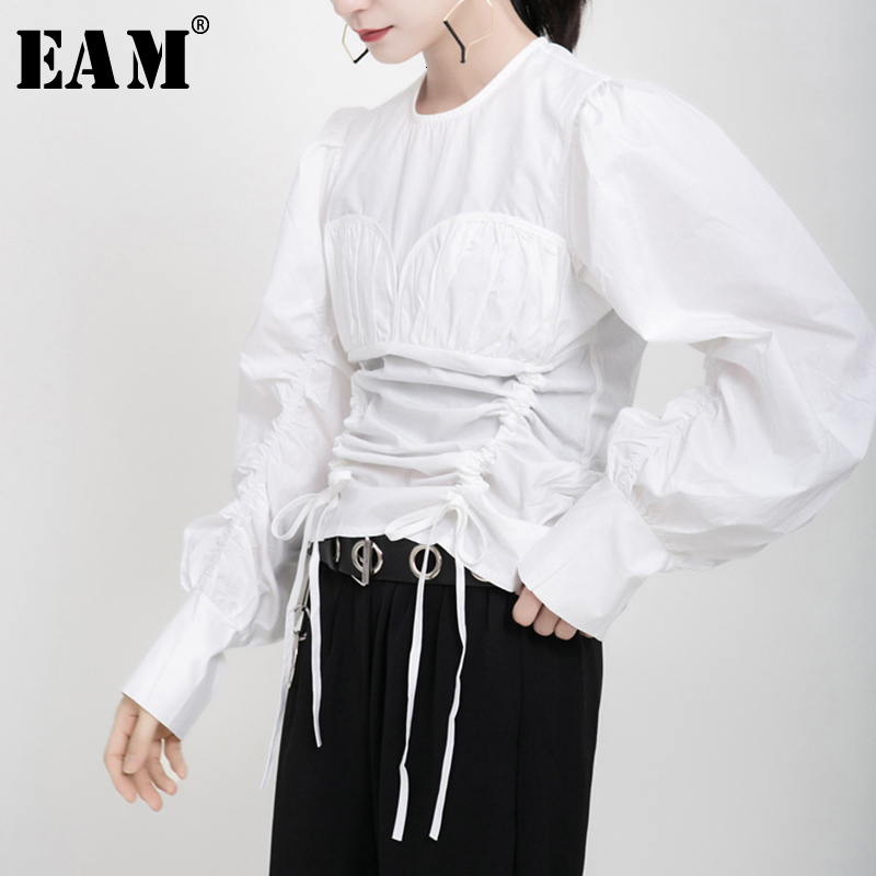 [EAM] Women Pleated Drawstring Blouse New Round Neck Long Sleeve Loose Fit Shirt Fashion Tide Spring Autumn 2020 19A-a176
