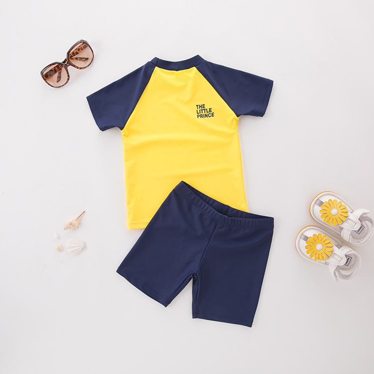 Men's Two-piece Swimsuits Yellow Short Sleeve Crown-KID'S Swimwear Hot Springs Clothing This Non-Swimming Cap