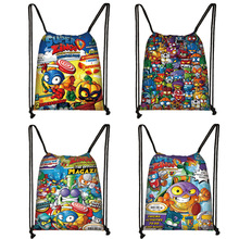 Cartoon Super Zings Print Drawstring Bag Boys Girls Storage Bags Teenager Casual Backpack Kids Bookbag Gift