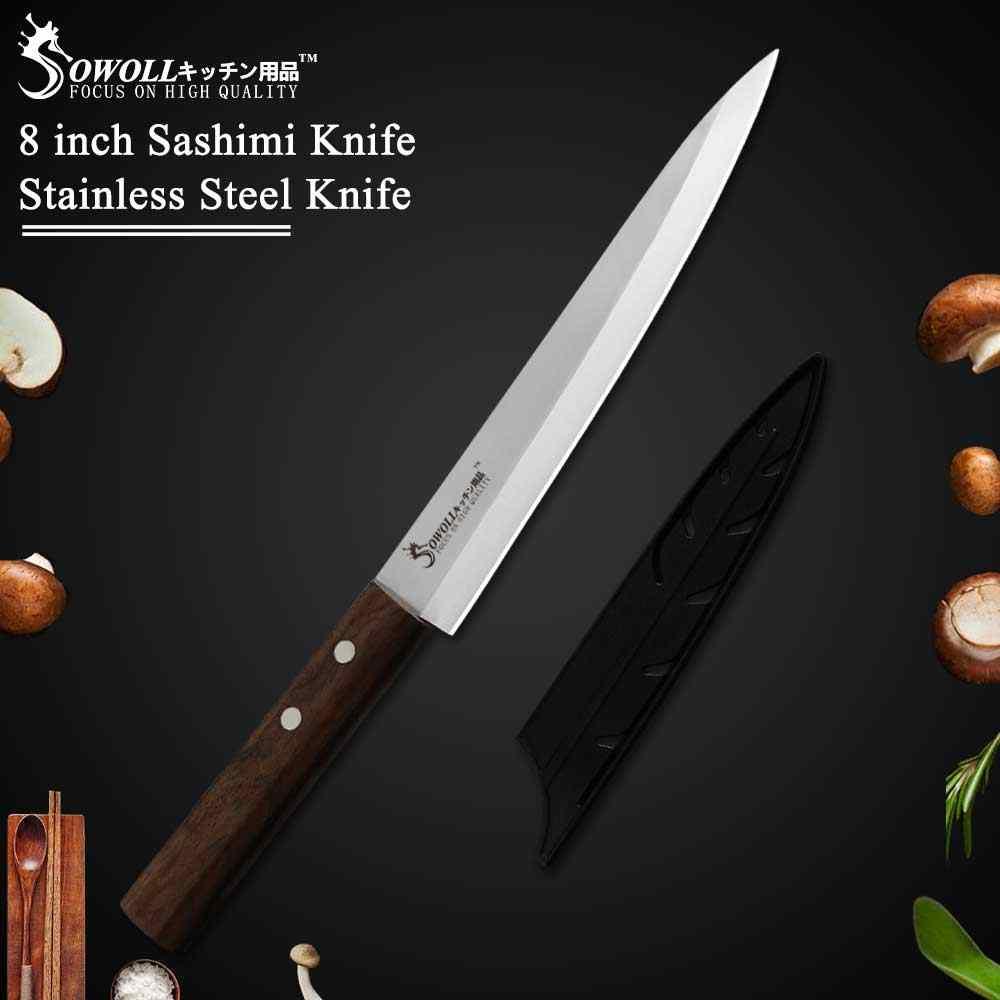 Sowoll japoński Sashimi nóż Yanagiba fileting noże Sushi niemcy 40Cr15MoV Steel Chef Cleaver łosoś drobna krojenie Peeling