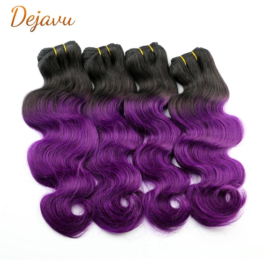 Неокрашенные бразильские волнистые волосы Dejavu 1/3/4, пучок 1b/пурпурные человеческие волосы для наращивания с эффектом омбре, волосы без повре...