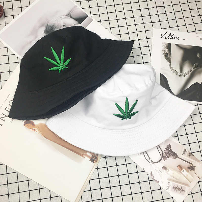 Men Women Maple Leaf Bucket Hat Hip Hop Fisherman Panama Hats Embroidery Cotton Outdoor Summer Casual Swag Bob Visor Bucket Caps