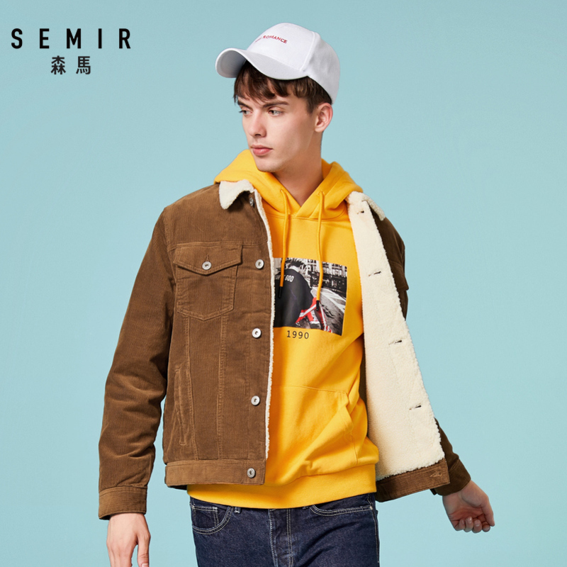 Semir Cotton Clothing Jacket Men Casual Short Section Imitation Lambswool Jacket Man 2019 Winter Corduroy Cotton Jackets