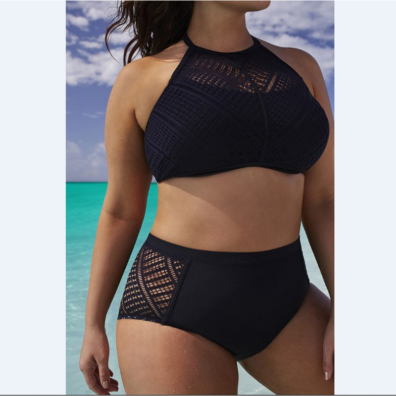 Big Size Bikini 7XL 2020 Women Swimsuit Bikinis Set Black Brace Halter Plus Size Bathing Suit Fat MM Women Swim Beach Wear