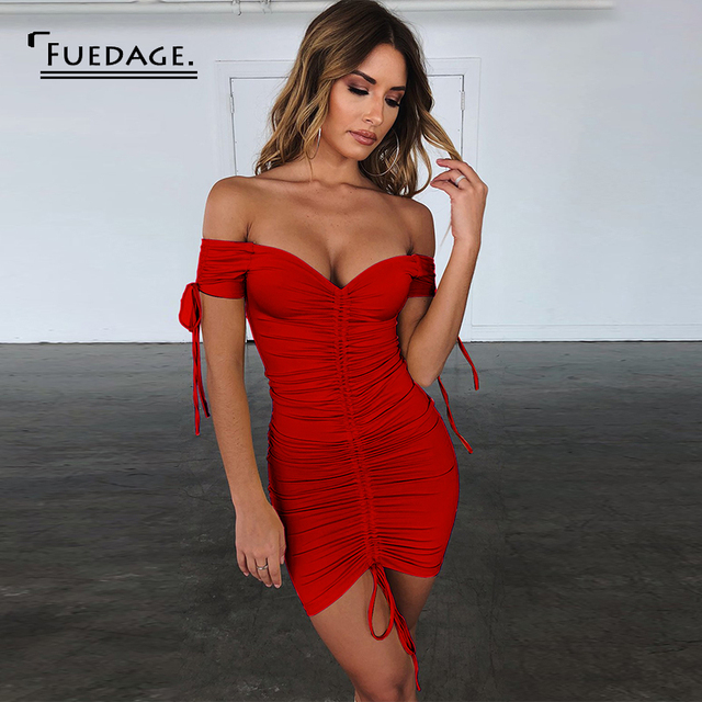 Fuedage Red Solid Ruched Drawstring Mini Dress Women Off Shoulder Sexy Backless Club Party Dress Bodycon Suchmmer Dress Vestidos 3