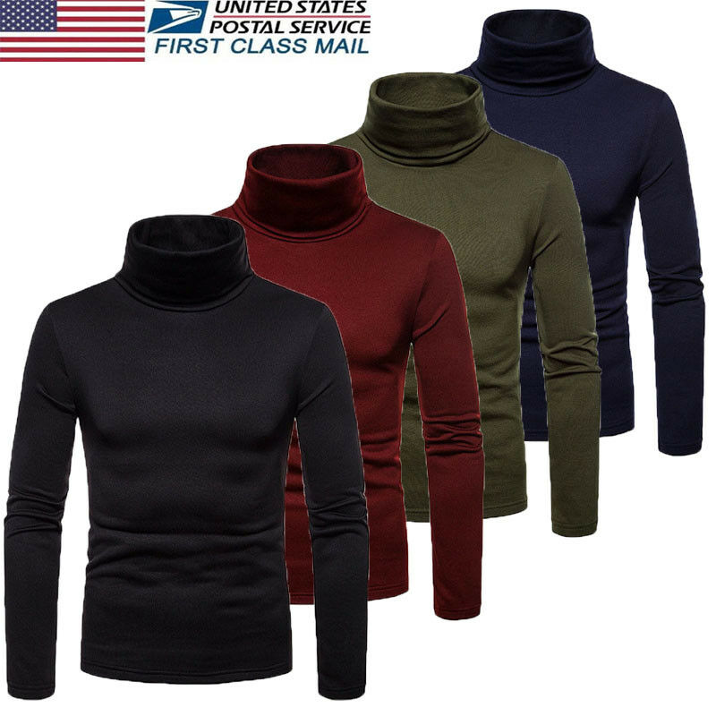 2020 Men Thermal Underwear Turtleneck Tops Spring Autumn Bottoming Long Sleeves High Elastic T Shirts Solid Casual Pullovers
