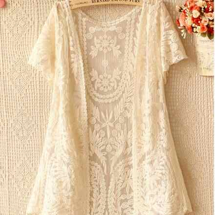 Harajuku Lace Mesh Hollow Out Embroidery Floral Loose Sweet Top Shirts Women Kawaii Lolita Mori Girl Inner Cute Blouses AF770