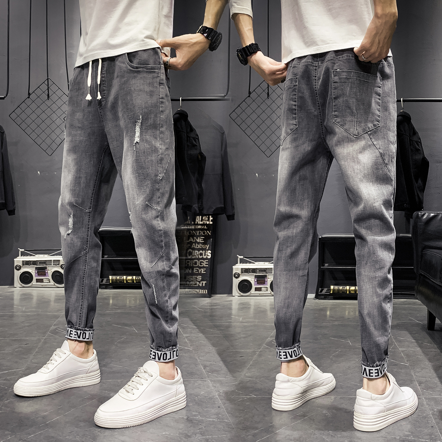 Harem Jeans Men's Spring And Autumn New Style Ankle Banded Pants Korean-style Trend Workwear Men Casual Capri Skinny Pants