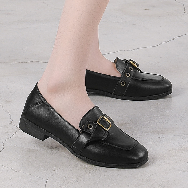 Women Flat Shoes Round Toe Genuine Leather Lady Platform Shoes Woman Loafers Fashion Brand New 2019