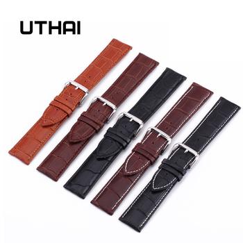 UTHAI Z08 paski do zegarków paski z prawdziwej skóry 10-24mm akcesoria do zegarków wysokiej jakości brązowe kolory od zegarków tanie i dobre opinie Inne Skórzane Nowy z metkami Pin buckle
