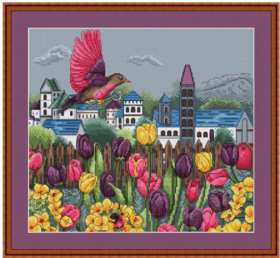 tt Gold Collection Counted Cross Stitch Kit Cross stitch RS cotton with cross stitch <font><b>Merejka</b></font> Tulip Garden image
