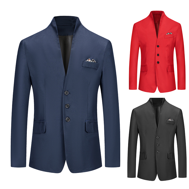 Men's Blazer Solid Color Suit Spring Autumn High Quality Casual Coats Slim Fit Male Fashion Casual Stand-up Collar Suit