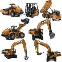 Las 1:50 de aleación de fundición camión volquete excavadora Tractor cargador con ruedas de Metal modelo de ingeniería de construcción vehículo juguetes para niños Coche