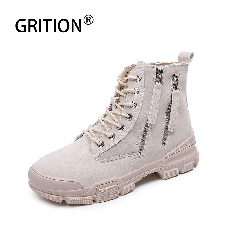 GRITION Women Martin Boots Camping Winter Outdoor Climbing Mid Footwear Non-slip Mountain Hiking Sneakers Tourism Fashion Shoes