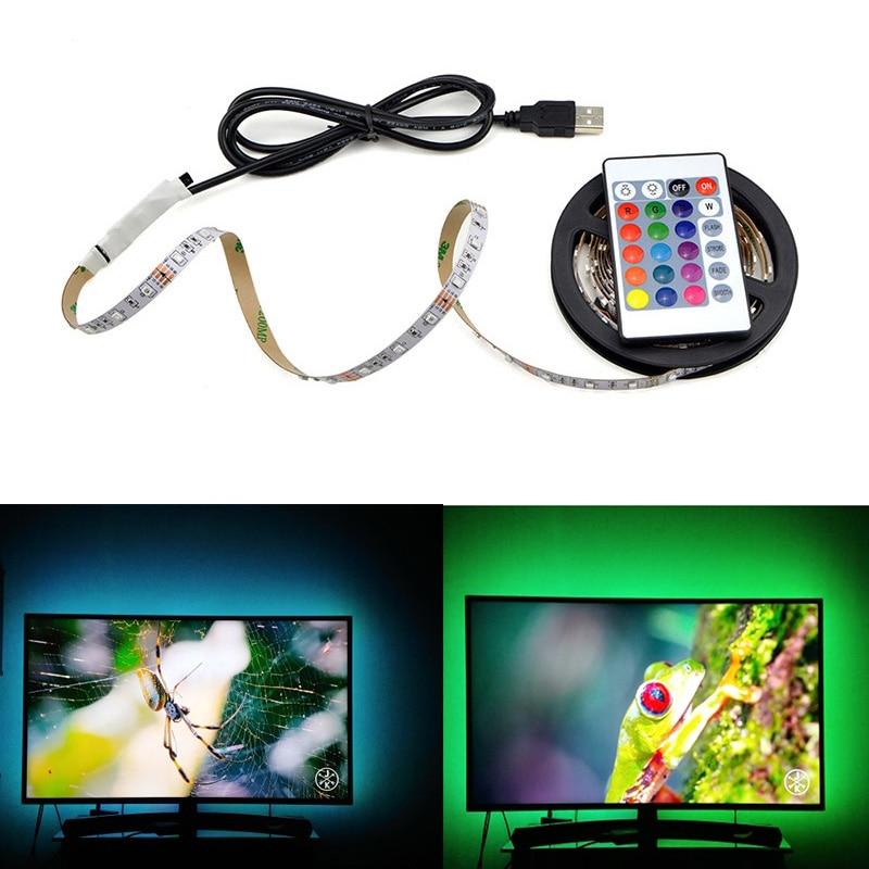 5V USB Powered LED Strip RGB TV backlight Neon lamp 50cm 1M 2M 3M 4M 5M 5V USB Powered LED Strip RGB TV backlight Neon lamp 50cm 1M 2M 3M 4M 5M Lamp Tape with IR control For LED Diode Ribbon Lighting