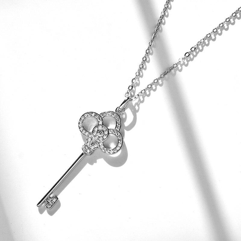 Women's 925 Silver Key Necklace Korean-style Fashion Simple Elegant Plum Key Pendant For A Girlfriend Couples