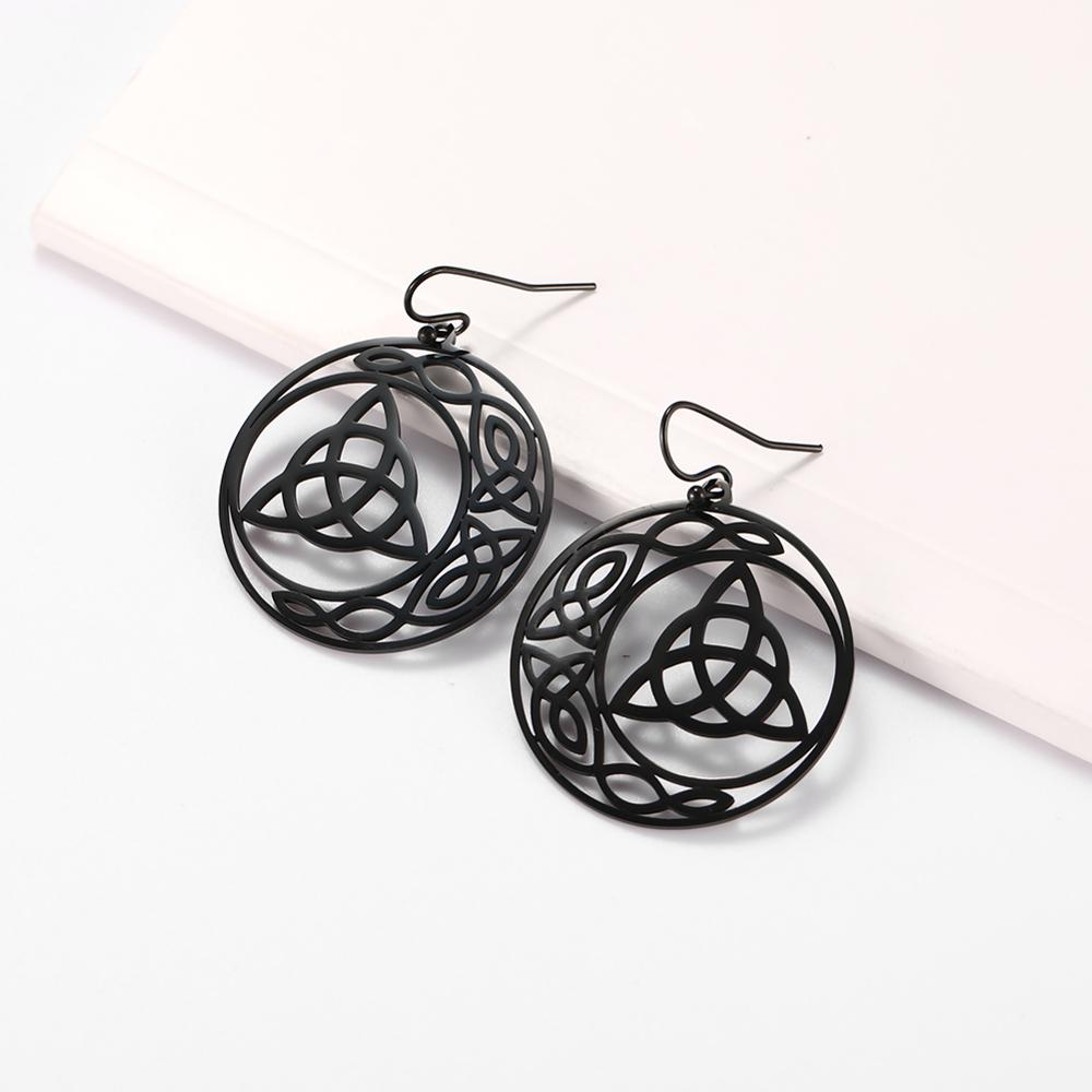 My Shape Hoop Gothic Earrings Stainless Steel Big Earring Dangle Earrings Irish Knot Women Gold Color Pendientes Gothic Jewelry